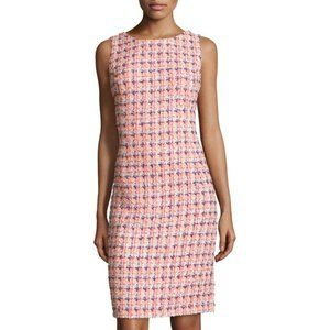 Oscar de la Renta Pink Sleeveless Tweed Dress
